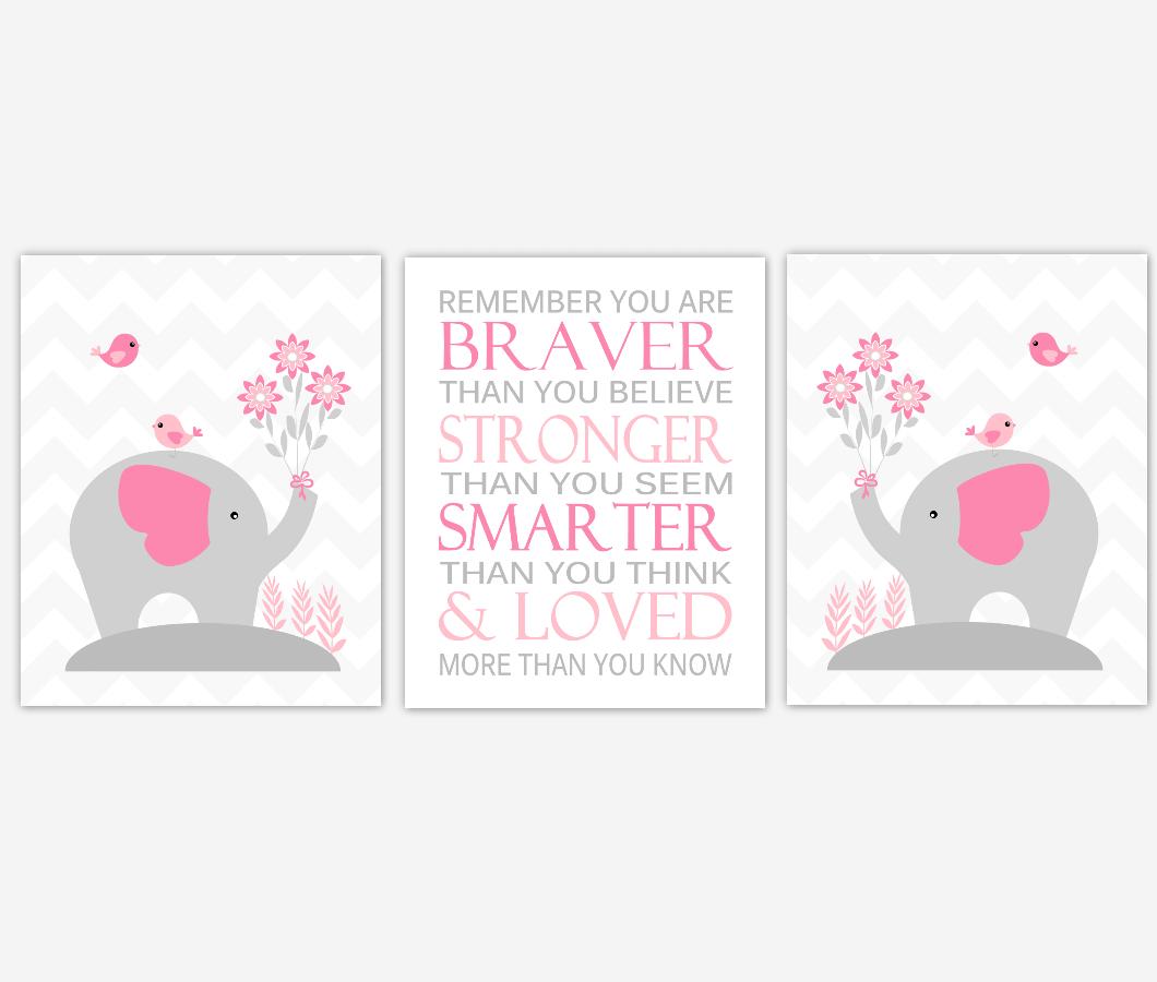 Baby Girl Nursery Artwork Pink Elephants Safari Jungle Animals Remember You Are Braver Baby Nursery Decor Prints SET OF 3 UNFRAMED PRINTS