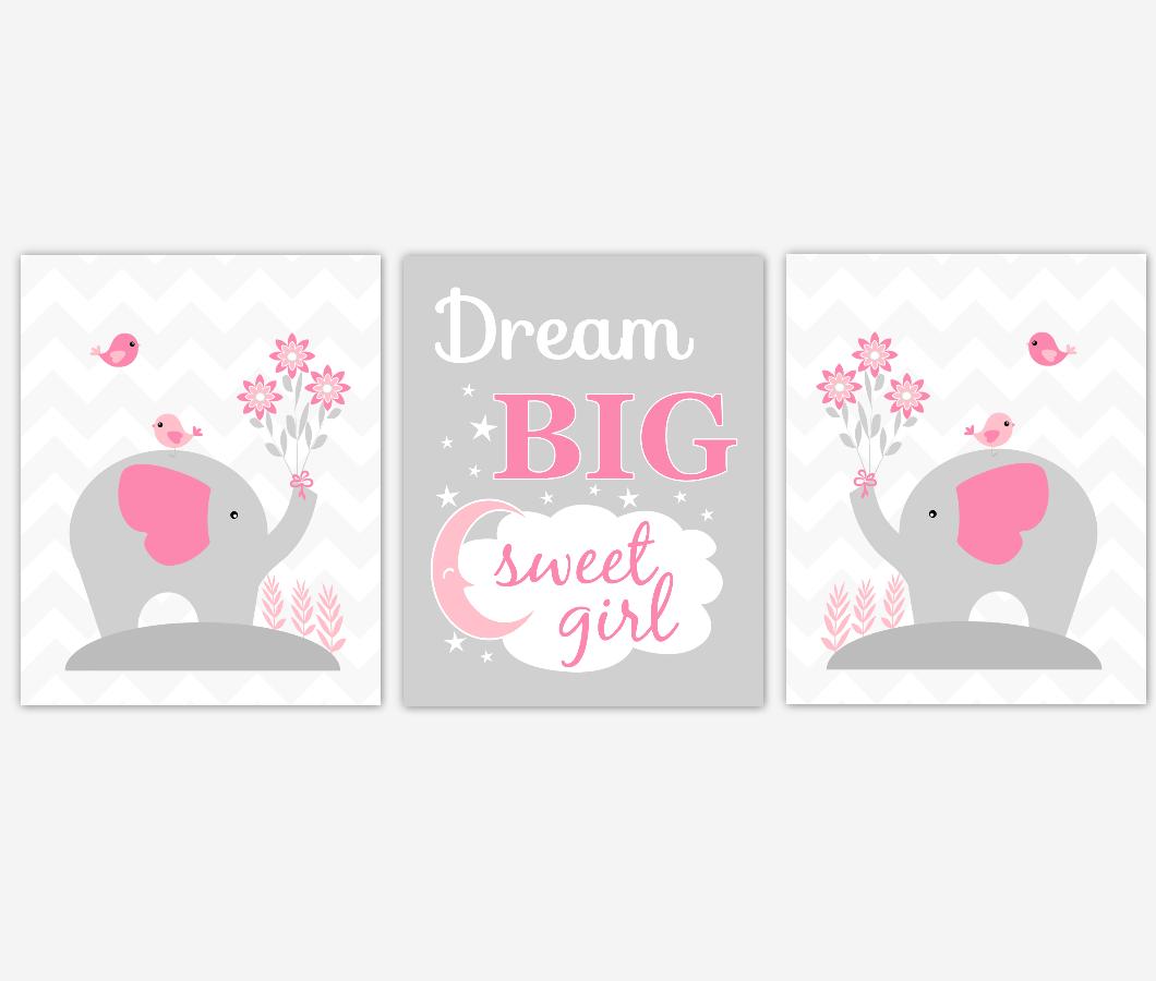 Baby Girl Nursery Artwork Pink Elephants Safari Jungle Animals Dream Big Sweet Girl Baby Nursery Decor Prints SET OF 3 UNFRAMED PRINTS