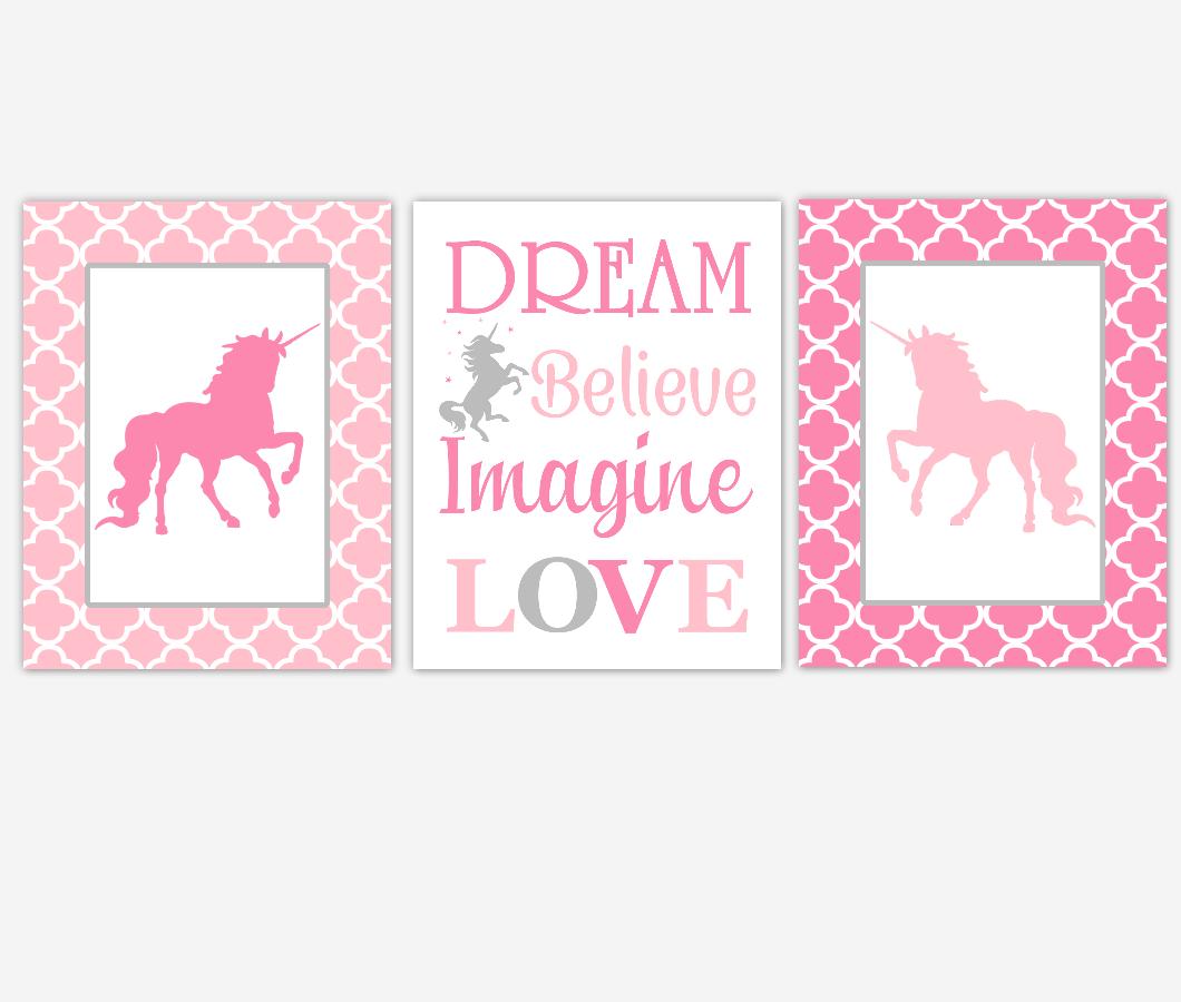 Unicorn Pink Baby Girl Nursery Artwork Dream Believe Imagine Love Toddler Girl Bedroom Prints Baby Nursery Decor SET OF 3 UNFRAMED PRINTS