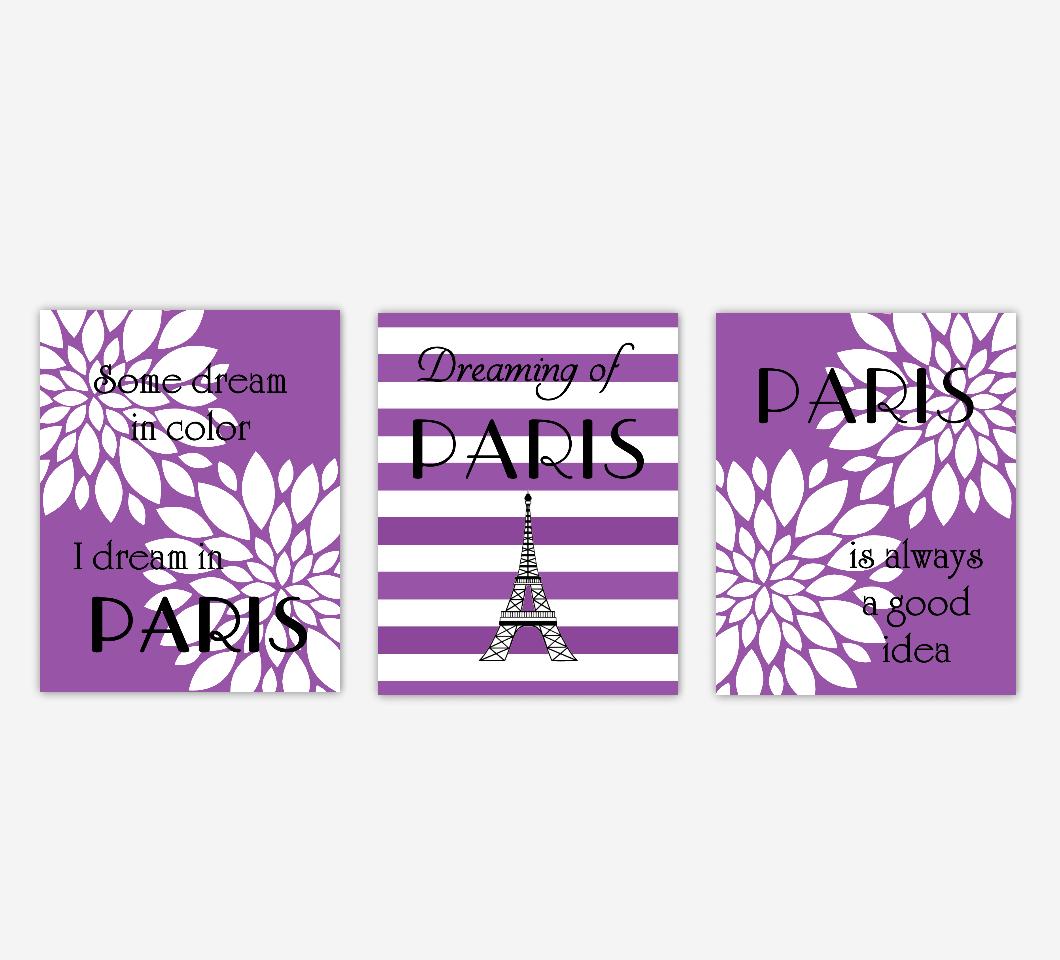 Paris Girl Room Wall Floral Decor Purple White Flower Burst Dahlia Mums Black Eiffel Tower Audrey Hepburn Dreaming Good Idea Girl Bedroom Baby Nursery Decor SET OF 3 UNFRAMED PRINTS
