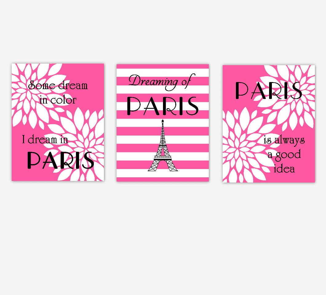 Paris Girl Room Wall Floral Decor Pink White Flower Burst Dahlia Mums Black Eiffel Tower Audrey Hepburn Dreaming Good Idea Girl Bedroom Baby Nursery Decor SET OF 3 UNFRAMED PRINTS