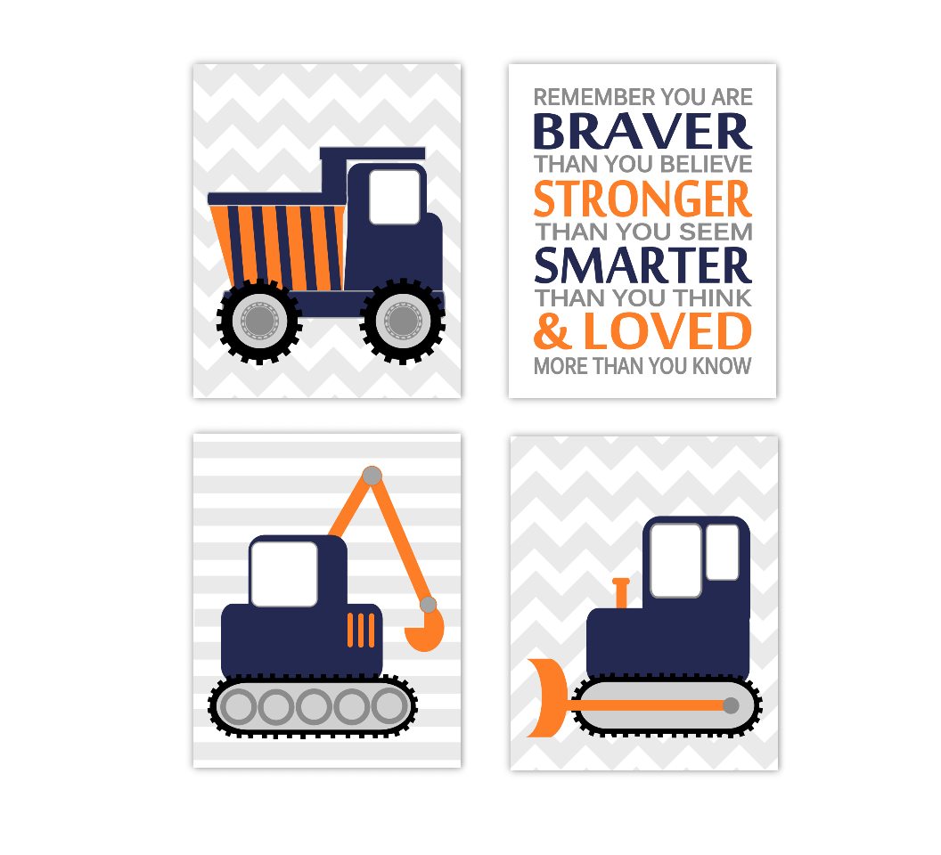 Baby Boy Nursery Art Construction Trucks Navy Blue Orange Tractor Dump Truck Remember You Are Braver Toddler Boy Bedroom SET OF 4 UNFRAMED PRINTS