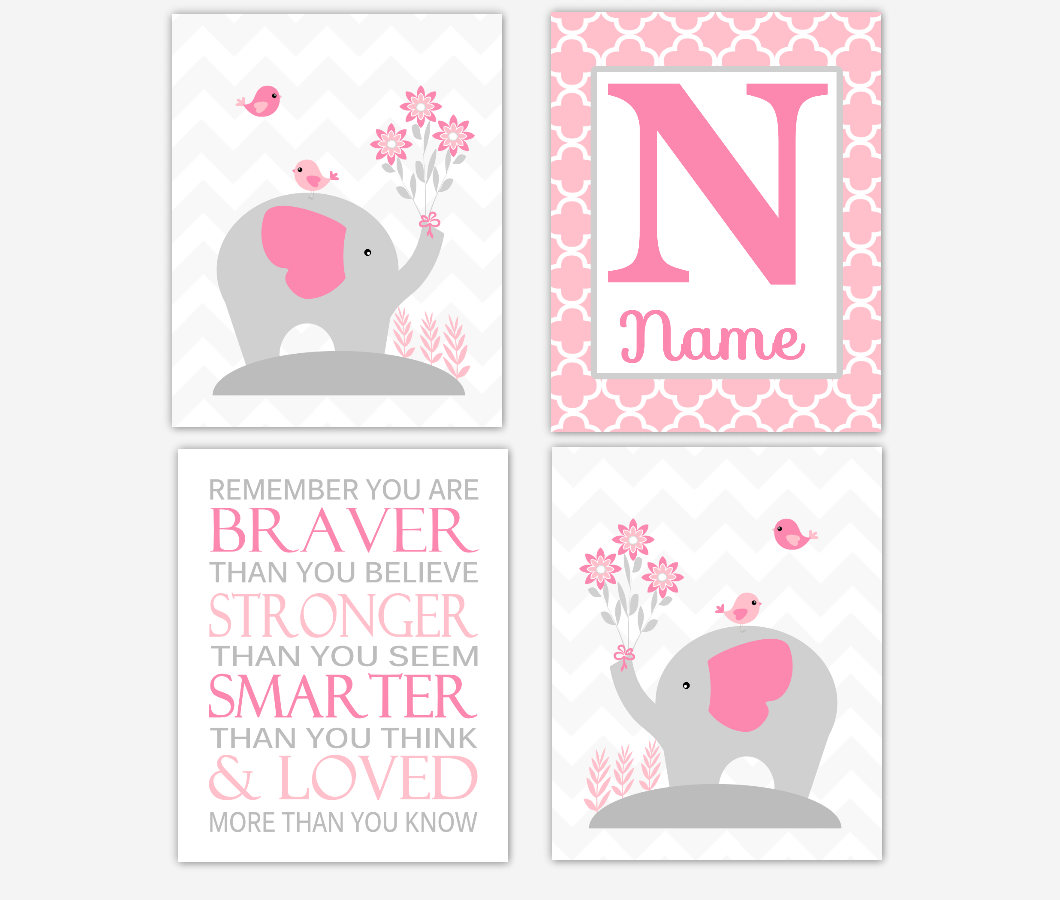 Baby Girl Nursery Artwork Pink Elephant Personalized Prints Remember You Are Braver Jungle Safari Animal Baby Nursery Decor SET OF 4 UNFRAMED PRINTS