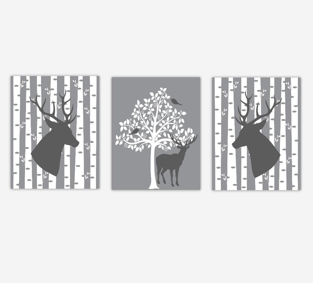 Baby Boy Nursery Artwork Deer Head Antlers Woodland Animals Birch Trees Farmhouse Style Boy Bedroom Prints