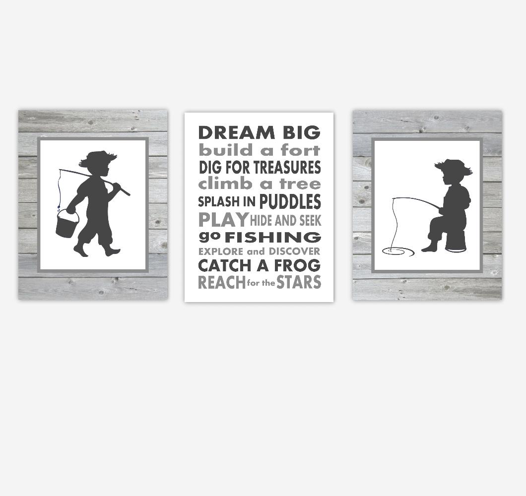 Baby Boy Nursery Artwork Fishing Gray Rustic Farmhouse Style Dream Big Quotes Toddler Boy Bedroom Prints