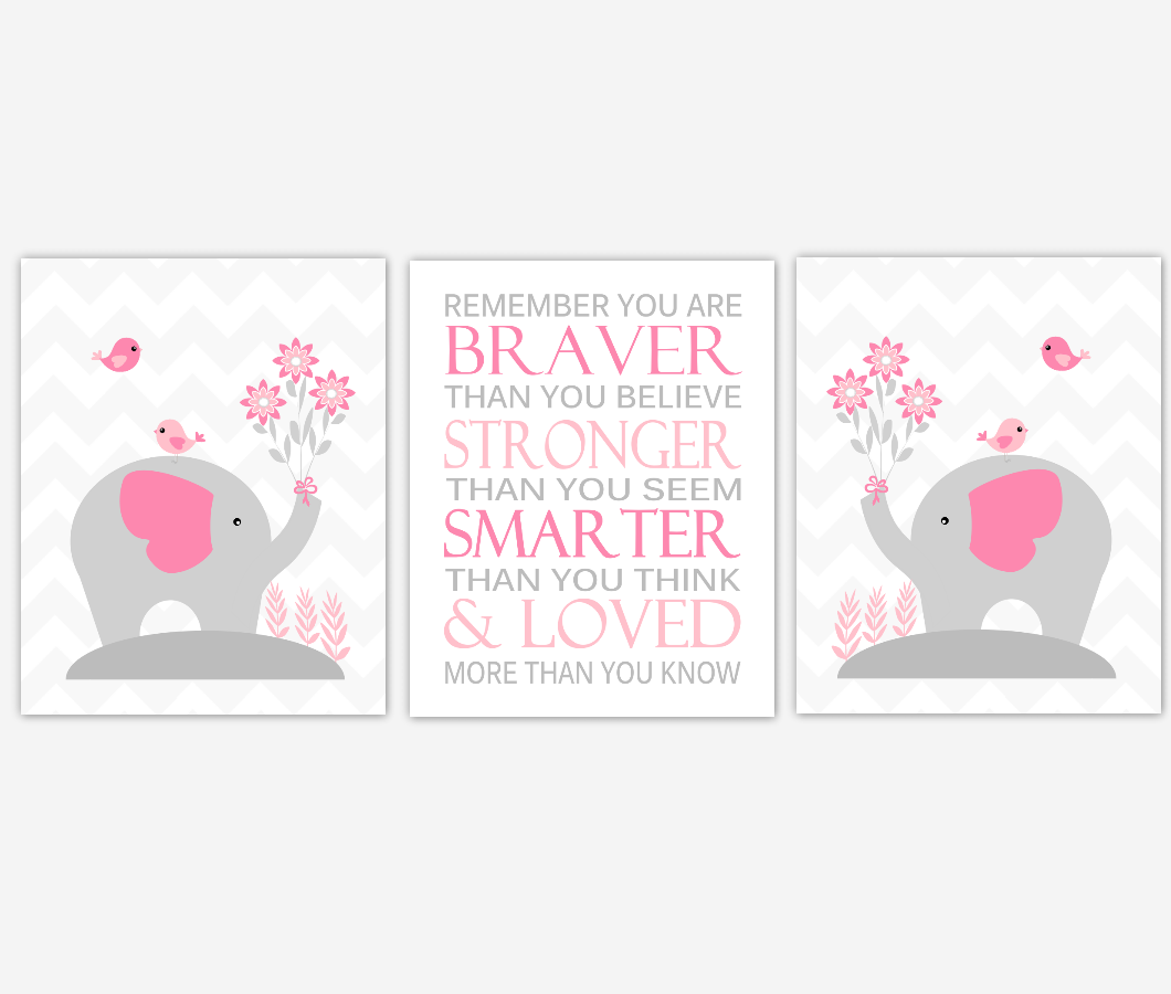 Pink Baby Girl Nursery Artwork Elephants Remember You Are Braver Jungle Safari Zoo Animals Wall Prints Baby Nursery Decor SET OF 3 UNFRAMED PRINTS