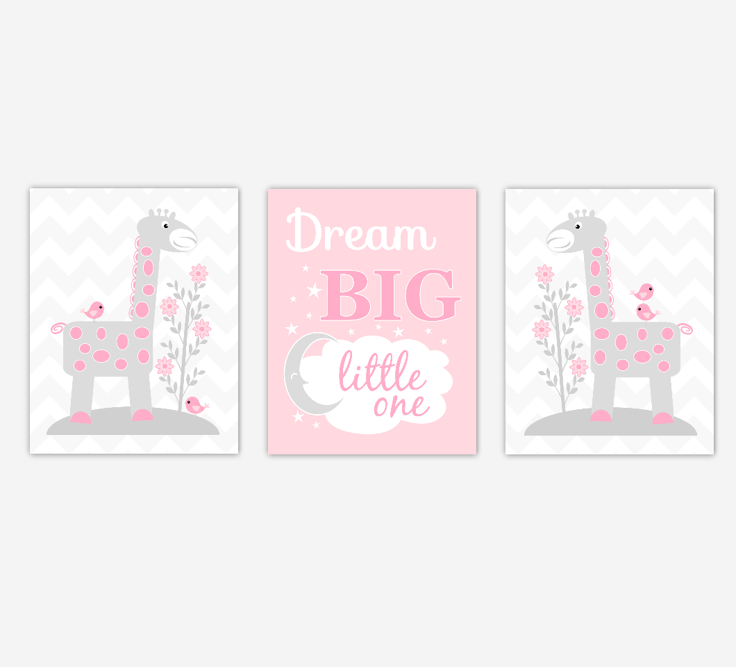 Pink Baby Girl Nursery Artwork Giraffes Dream Big Little One Jungle Safari Zoo Animals Wall Prints Baby Nursery Decor SET OF 3 UNFRAMED PRINTS
