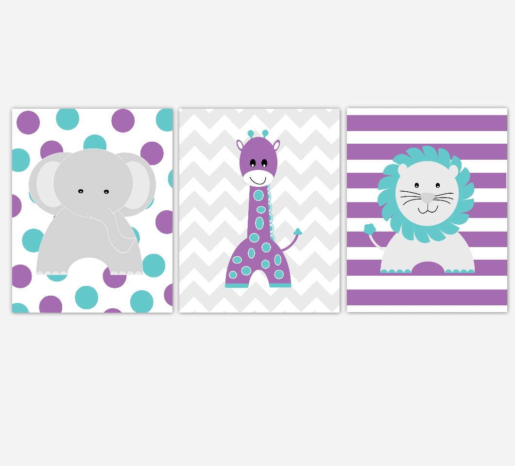Purple Teal Baby Girl Nursery Artwork Elephant Giraffe Lion Jungle Safari Zoo Animals Wall Prints Baby Nursery Decor SET OF 3 UNFRAMED PRINTS