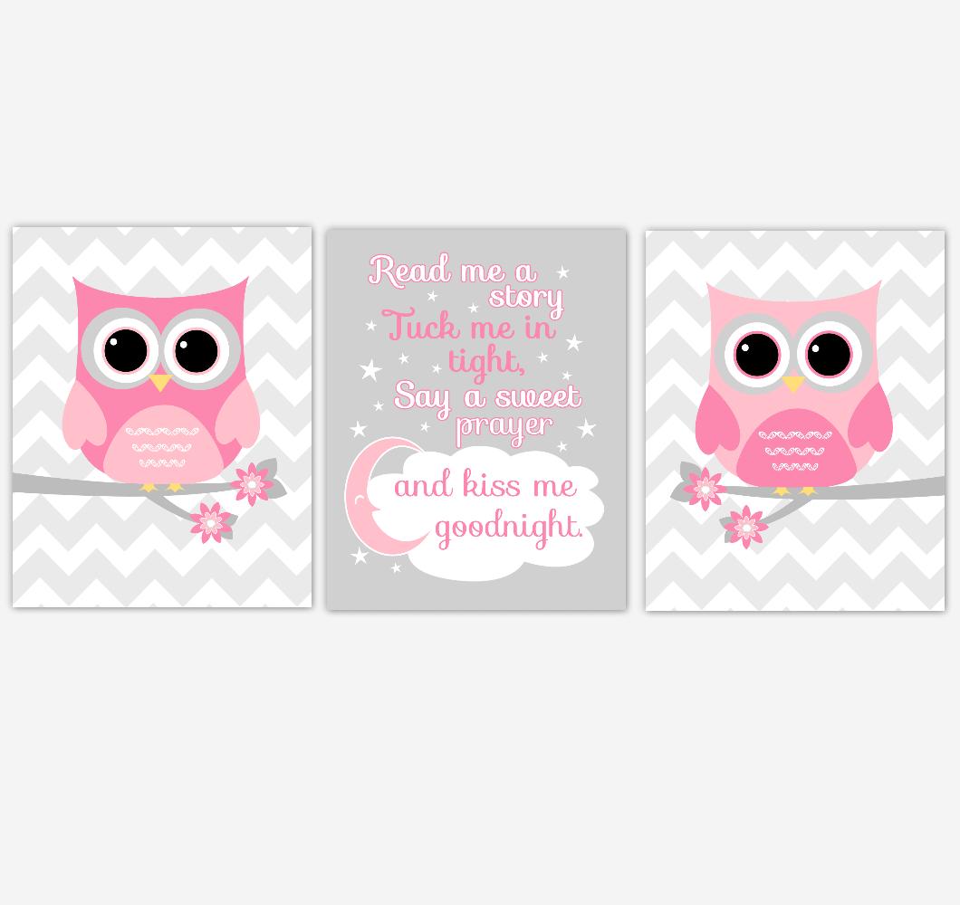 Pink Owl Baby Girl Nursery Art Read Me A Story Kiss Me Goodnight Baby Nursery Decor SET OF 3 UNFRAMED PRINTS