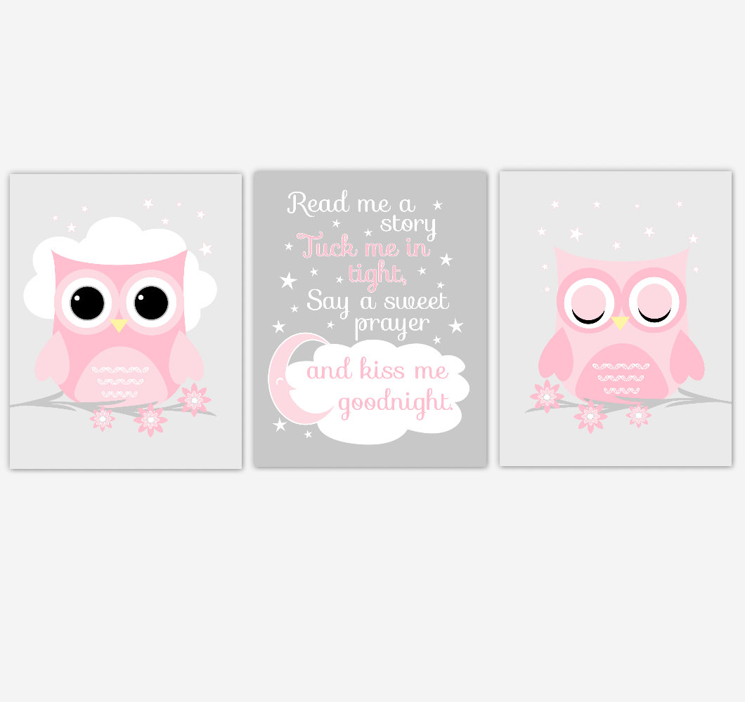 Pink Owl Baby Girl Nursery Art Read Me A Story Kiss Me Goodnight Baby Nursery Decor SET OF 3 UNFRAMED PRINTS