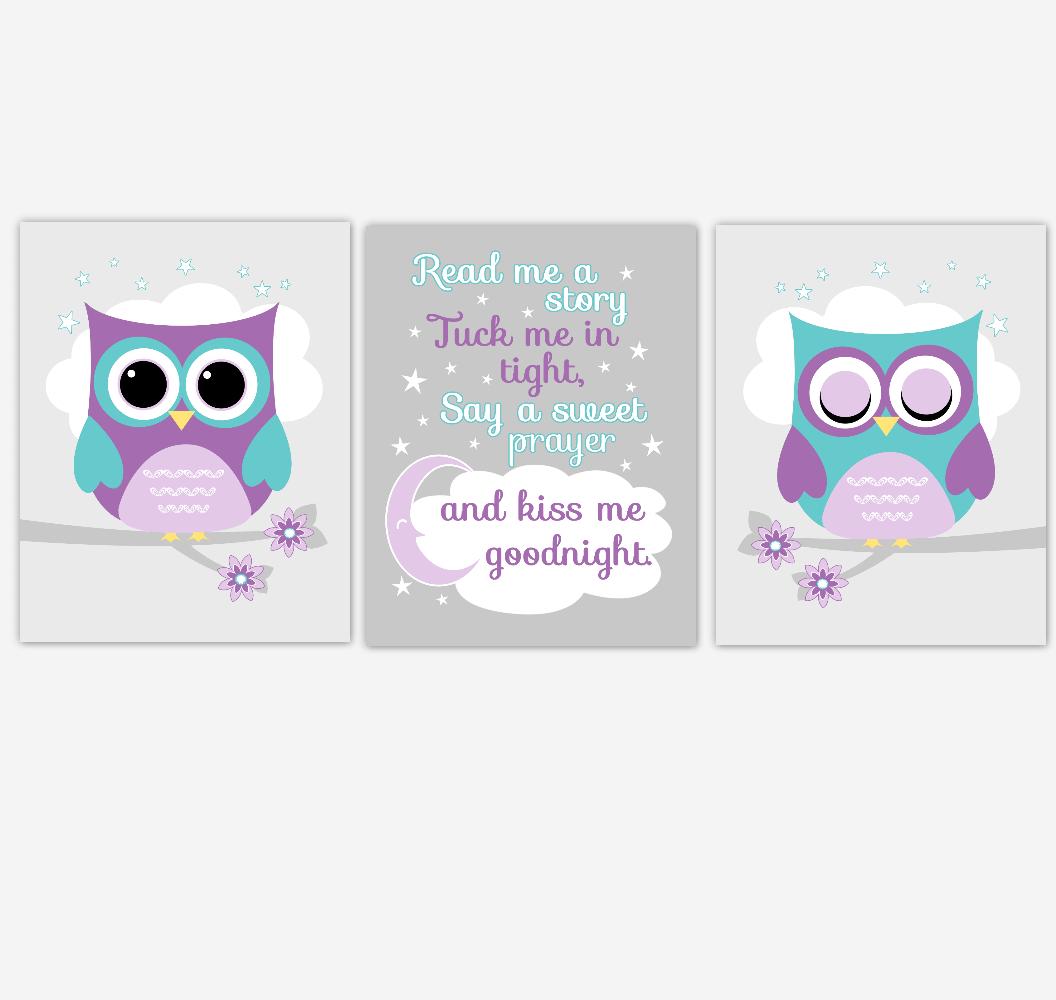 Purple Teal Owl Baby Girl Nursery Art Read Me A Story Kiss Me Goodnight Baby Nursery Decor SET OF 3 UNFRAMED PRINTS