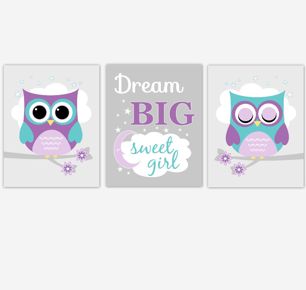 Purple Teal Owl Baby Girl Nursery Art Dream Big Sweet Girl Baby Nursery Decor SET OF 3 UNFRAMED PRINTS