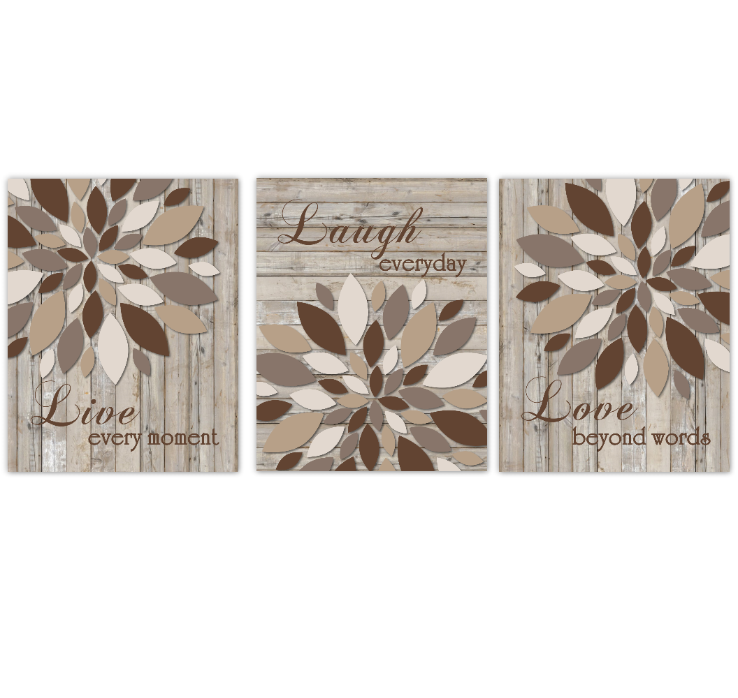 Live Laugh Love Dahlia Mums Flower Wall Art Home Decor Living Room Bedroom Prints Rustic Wood Farmhouse Style SET OF 3 UNFRAMED PRINTS - NOT REAL WOOD