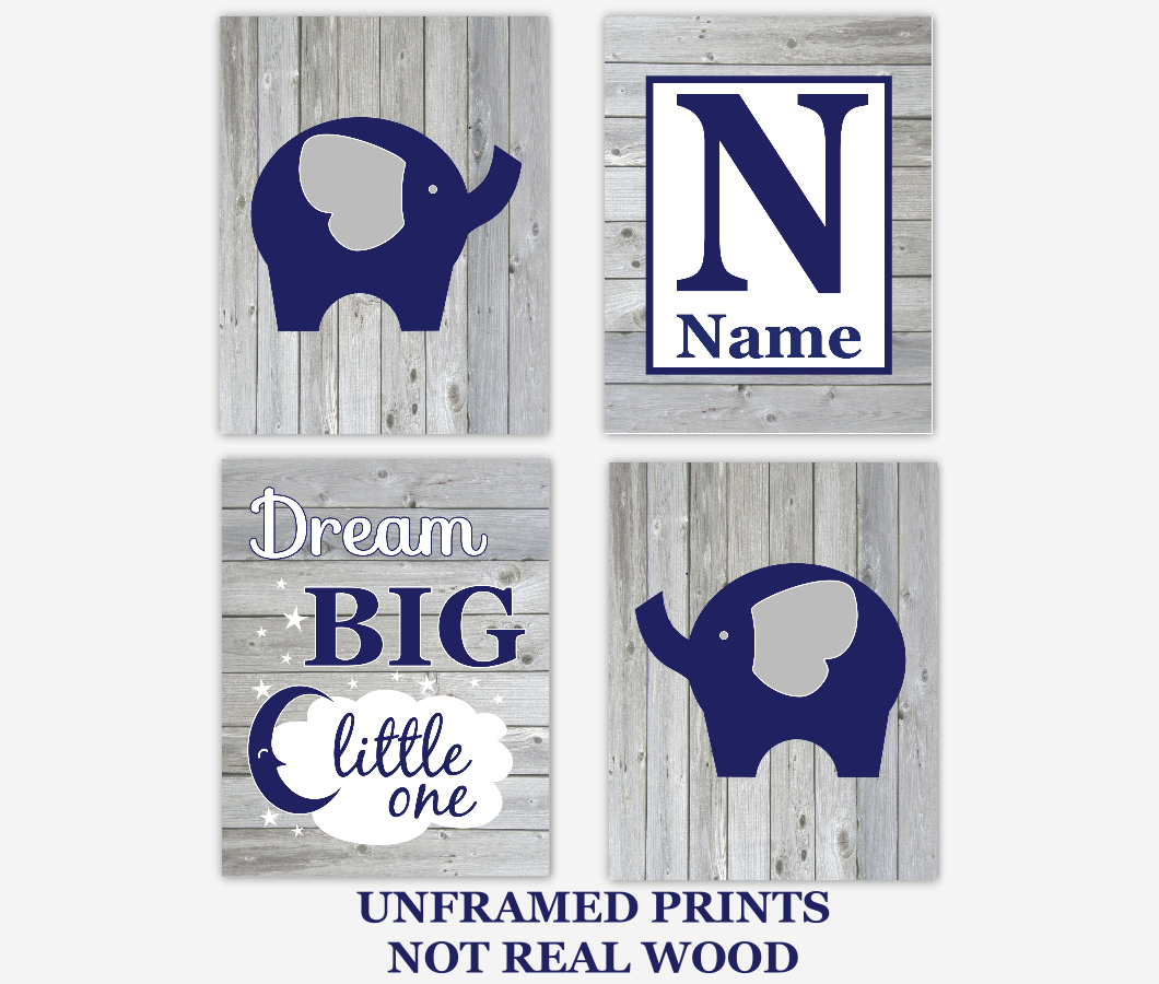 Baby Boy Nursery Art Navy Blue Elephants Personalized Dream Big Rustic Wood Farmhouse Baby Nursery Decor