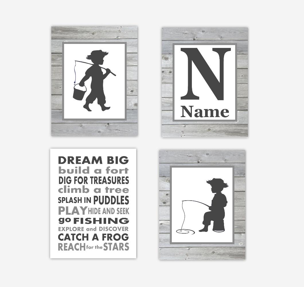 Fishing Baby Boy Nursery Art Personalized Toddler Boy Bedroom Dream Big Baby Nursery Decor SET OF 4 UNFRAMED PRINTS