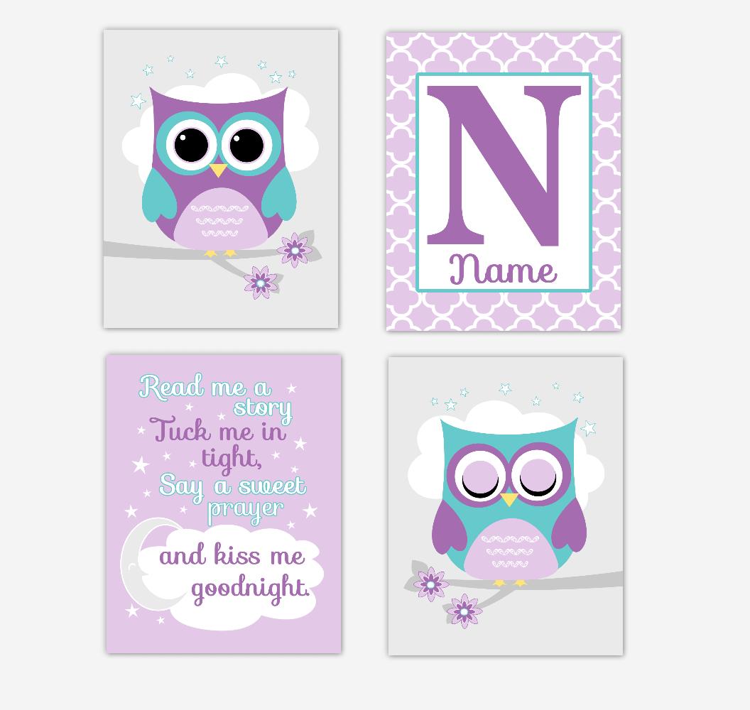 Purple Teal Baby Girl Nursery Art Owls Personalized Read Me A Story Girl Baby Nursery Decor SET OF 4 UNFRAMED PRINTS