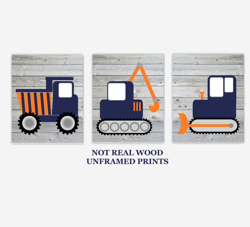 Construction Trucks Baby Boy Nursery Artwork Navy Blue Orange Rustic Wood Farmhouse Style Tractor Dump Truck Boy Bedroom Prints