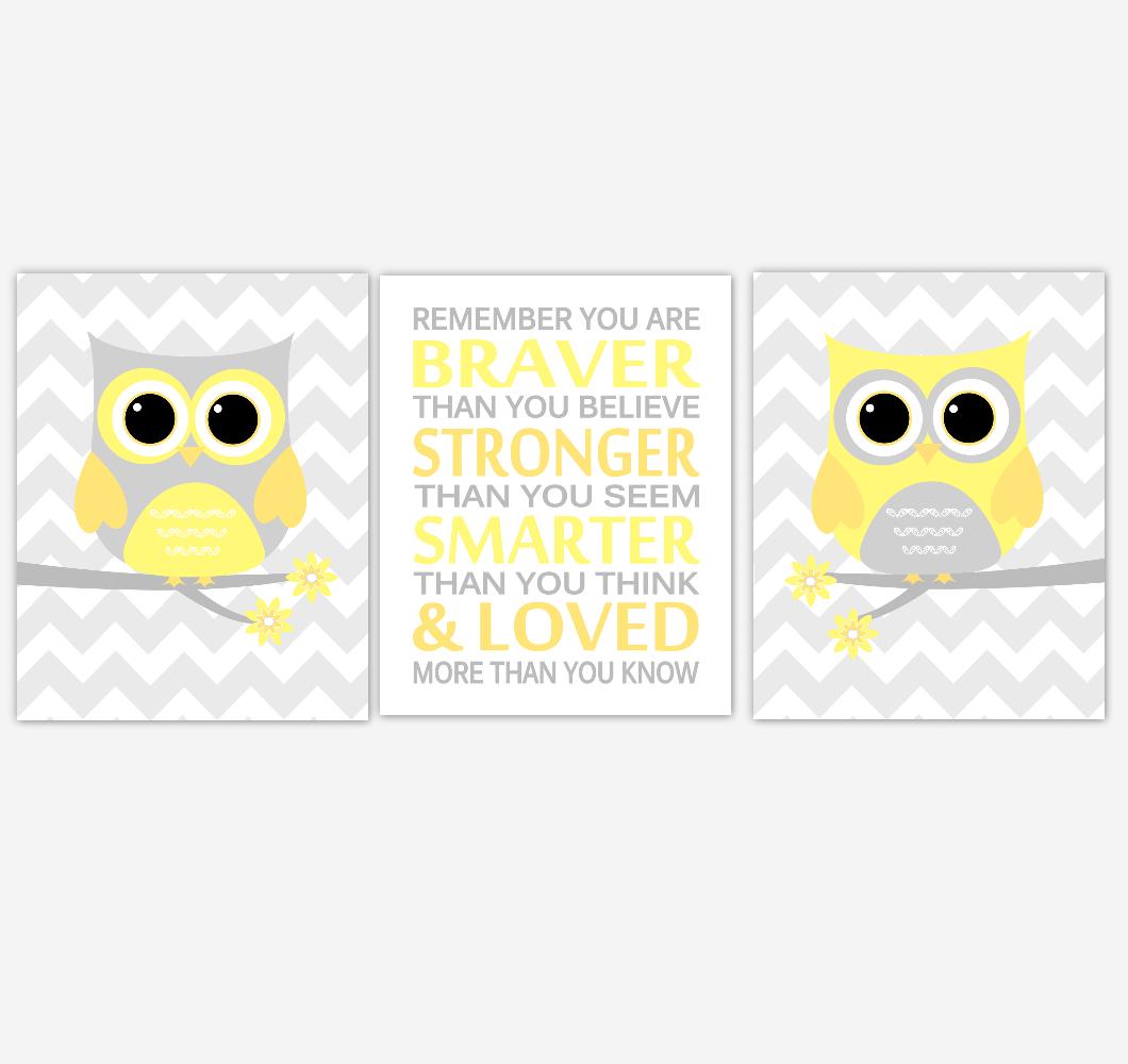 Yellow Owls Baby Nursery Art Baby Boy Girl Nursery Decor Remember You Are Braver Children Kids Wall Decor SET OF 3 UNFRAMED PRINTS
