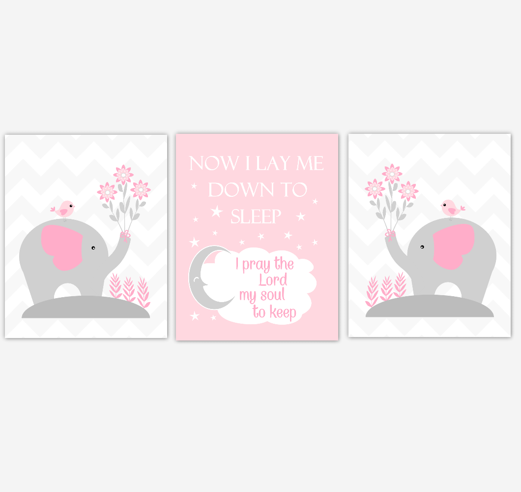 Pink Baby Girl Nursery Art Elephants Now I Lay Me Down To Sleep Baby Nursery Decor SET OF UNFRAMED PRINTS