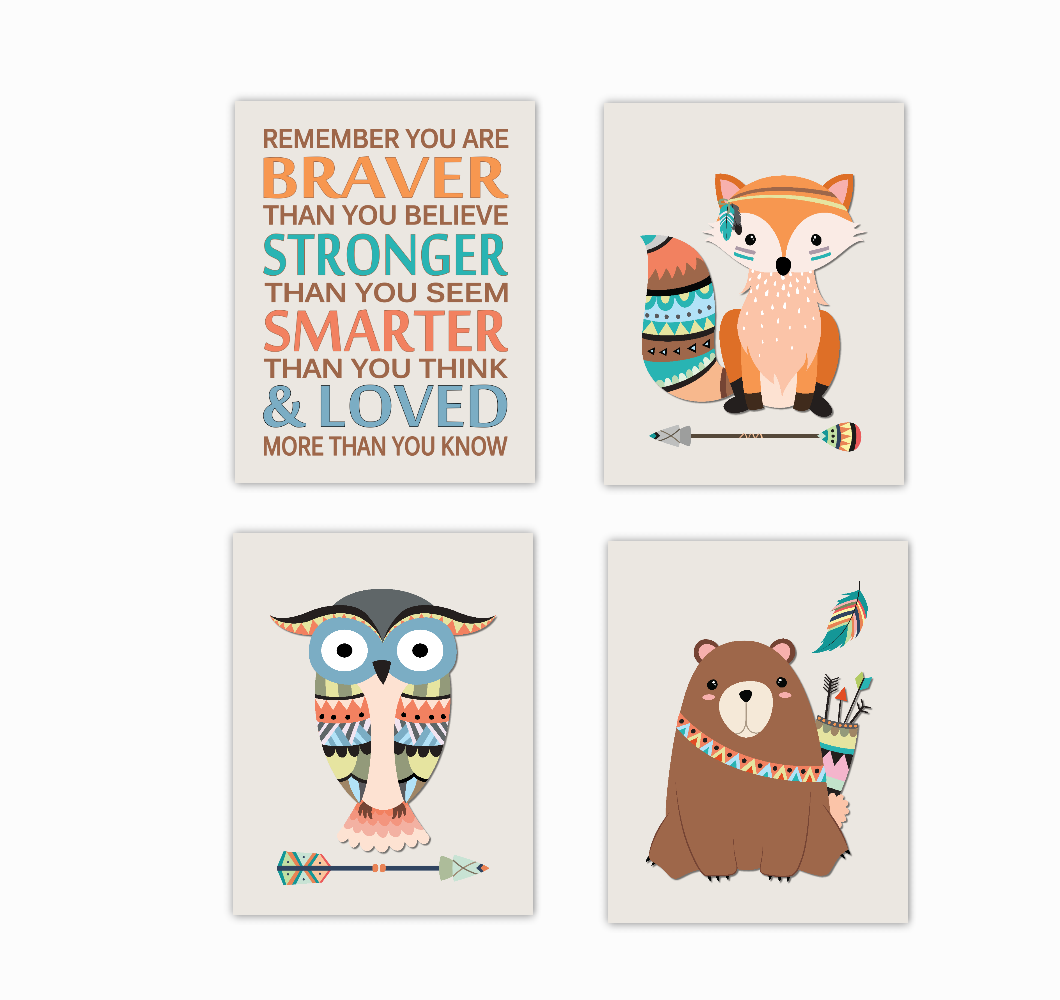 Tribal Woodland Nursery Art Fox Owl Bear Always Remember You Are Braver Baby Nursery Decor SET OF 4 UNFRAMED PRINTS