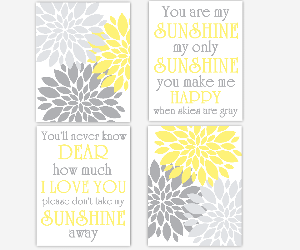 Baby Girl Nursery Wall Art Gray Yellow Grey Flower Bursts Dahlias Floral Blooms You Are My Sunshine Prints for Girls Room Flower Floral Art for Girls Bedroom Song Prints for Baby Nursery Girl