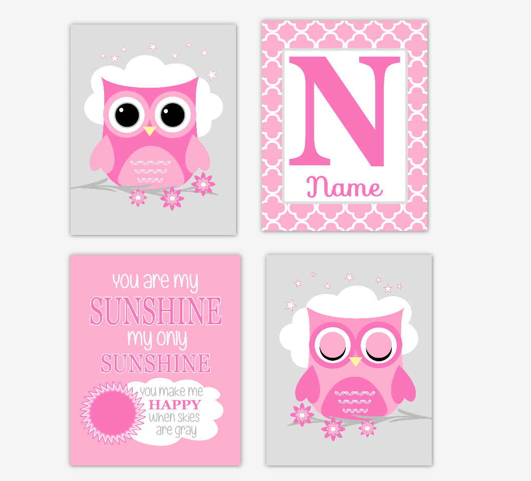 Baby Girl Nursery Art Pink Owls You Are My Sunshine Personalized Baby Nursery Decor  SET OF 4 UNFRAMED PRINTS