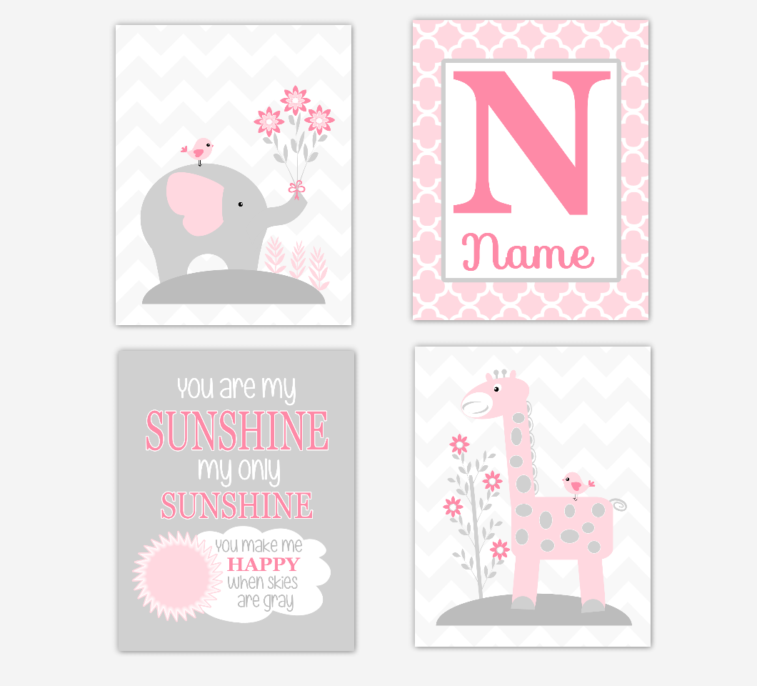 Baby Girl Nursery Art Pink Elephant Giraffe You Are My Sunshine Personalized Baby Nursery Decor  SET OF 4 UNFRAMED PRINTS