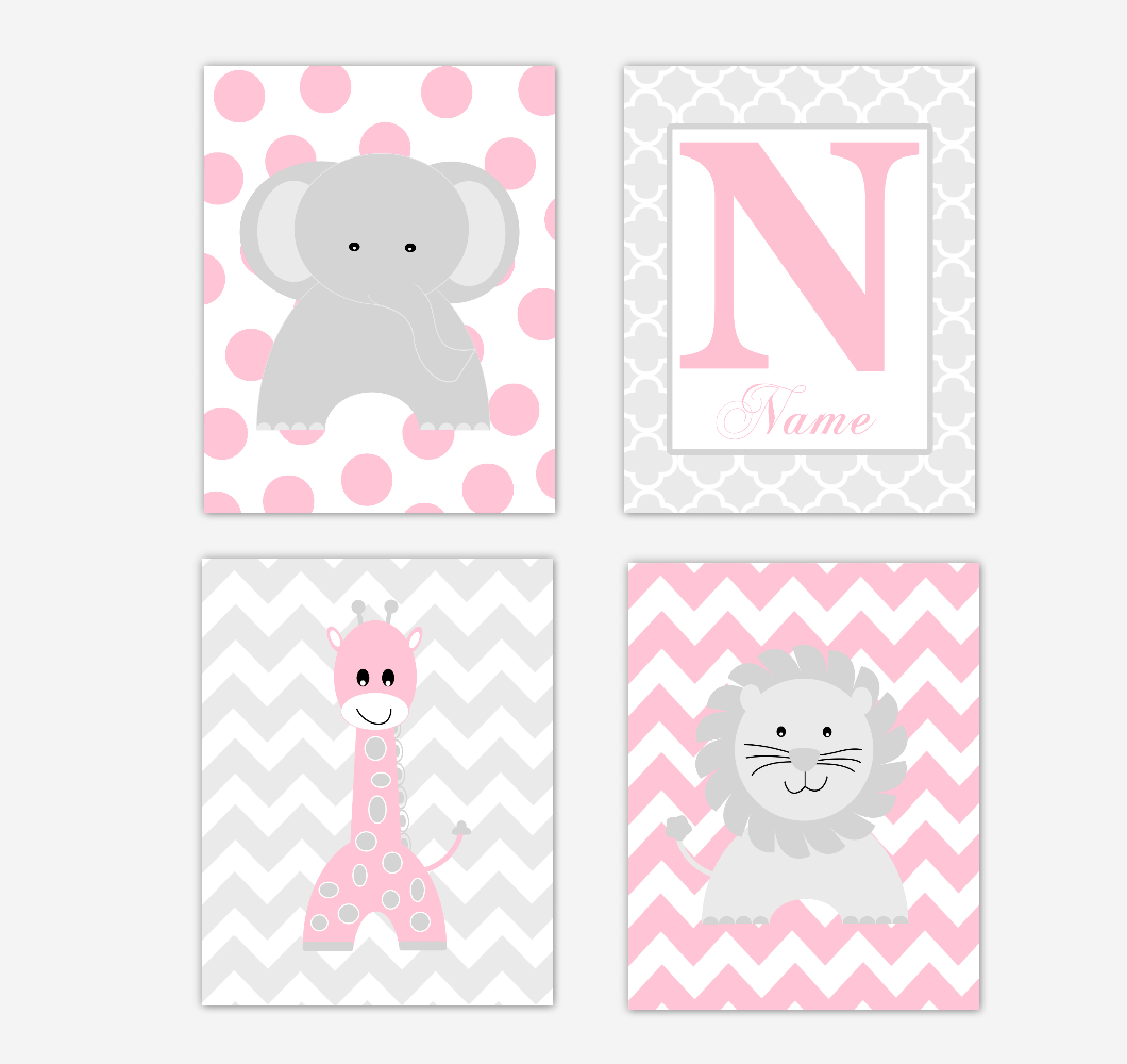 Baby Girl Nursery Art Pink Elephant Giraffe Lion Personalized Baby Nursery Decor  SET OF 4 UNFRAMED PRINTS