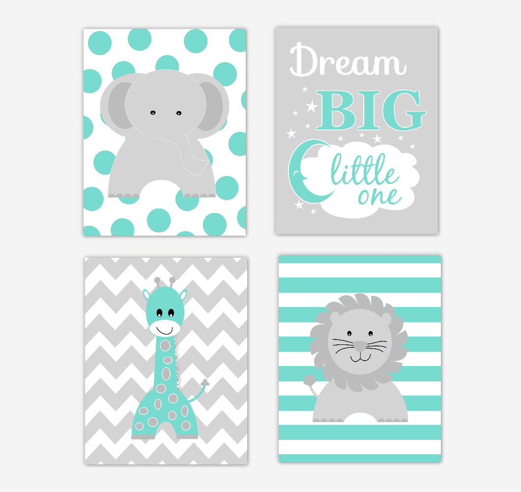 Baby Girl Nursery Art Teal Green Elephant Giraffe Lion Dream Big Jungle Safari Animals Baby Nursery Decor  Decor SET OF 4 UNFRAMED PRINTS