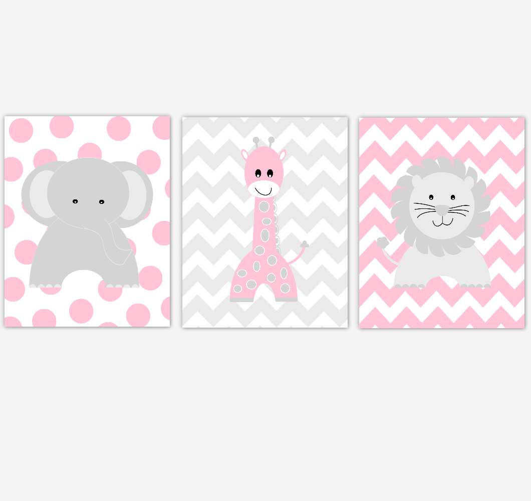 Baby Girl Nursery Art Pink Gray Elephant Giraffe Lion Jungle Safari Animals Baby Nursery Decor SET OF 3 UNFRAMED PRINTS