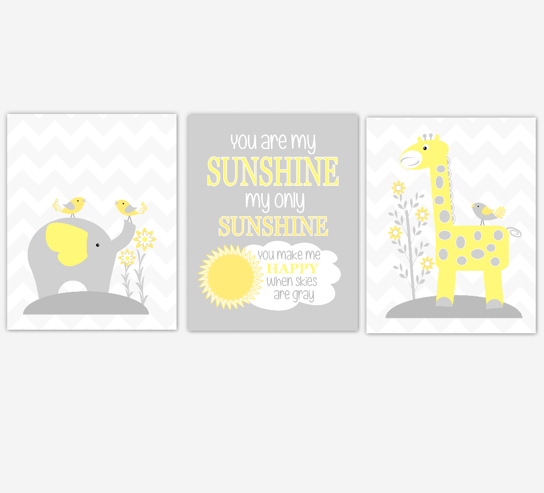 Baby Girl Nursery Art Yellow Gray Elephant Giraffe You Are My Sunshine Jungle Safari Animals Baby Nursery Decor SET OF 3 UNFRAMED PRINTS