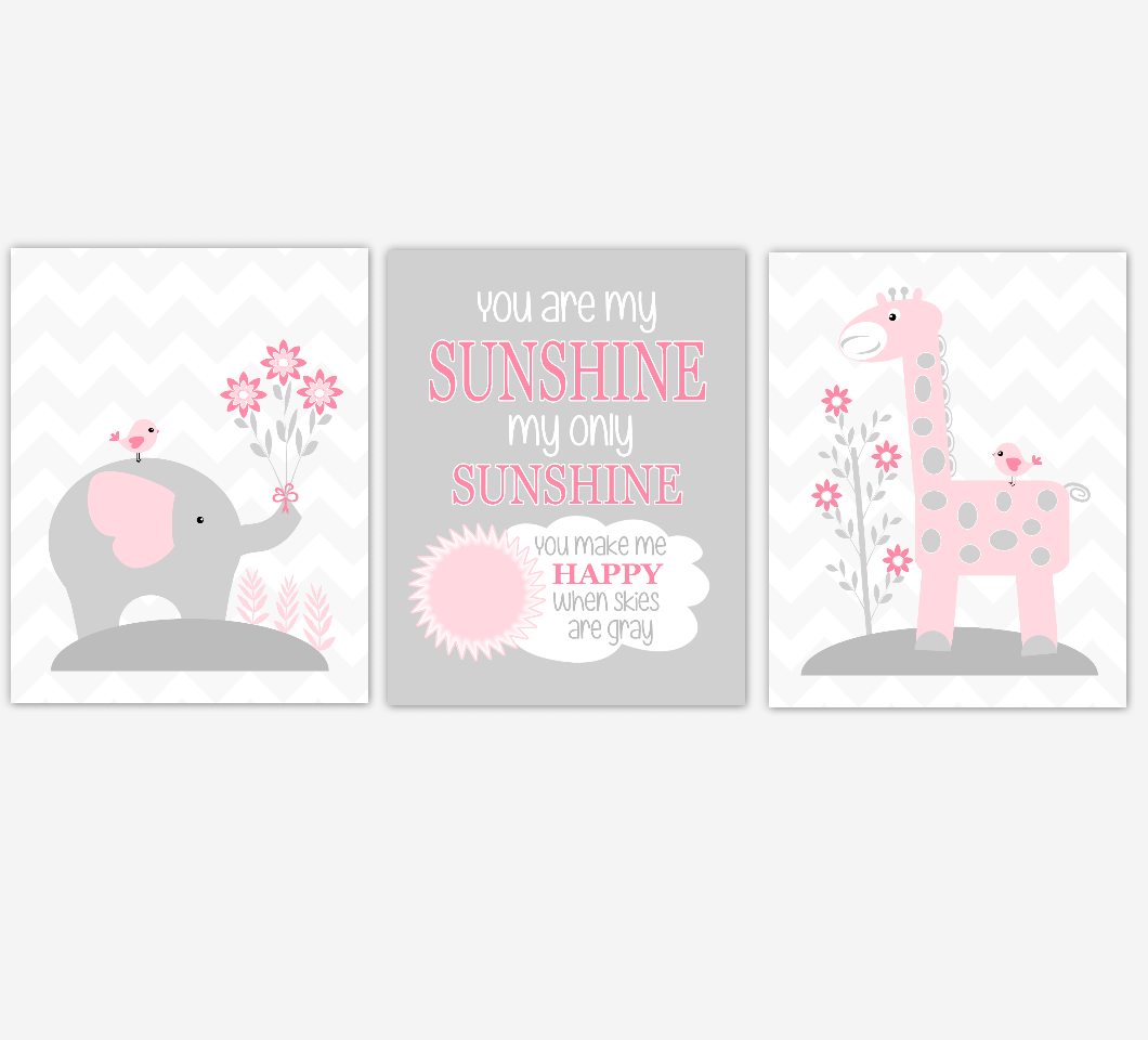 Baby Girl Nursery Art Pink Gray Elephant Giraffe You Are My Sunshine Jungle Safari Animals Baby Nursery Decor  SET OF 3 UNFRAMED PRINTS
