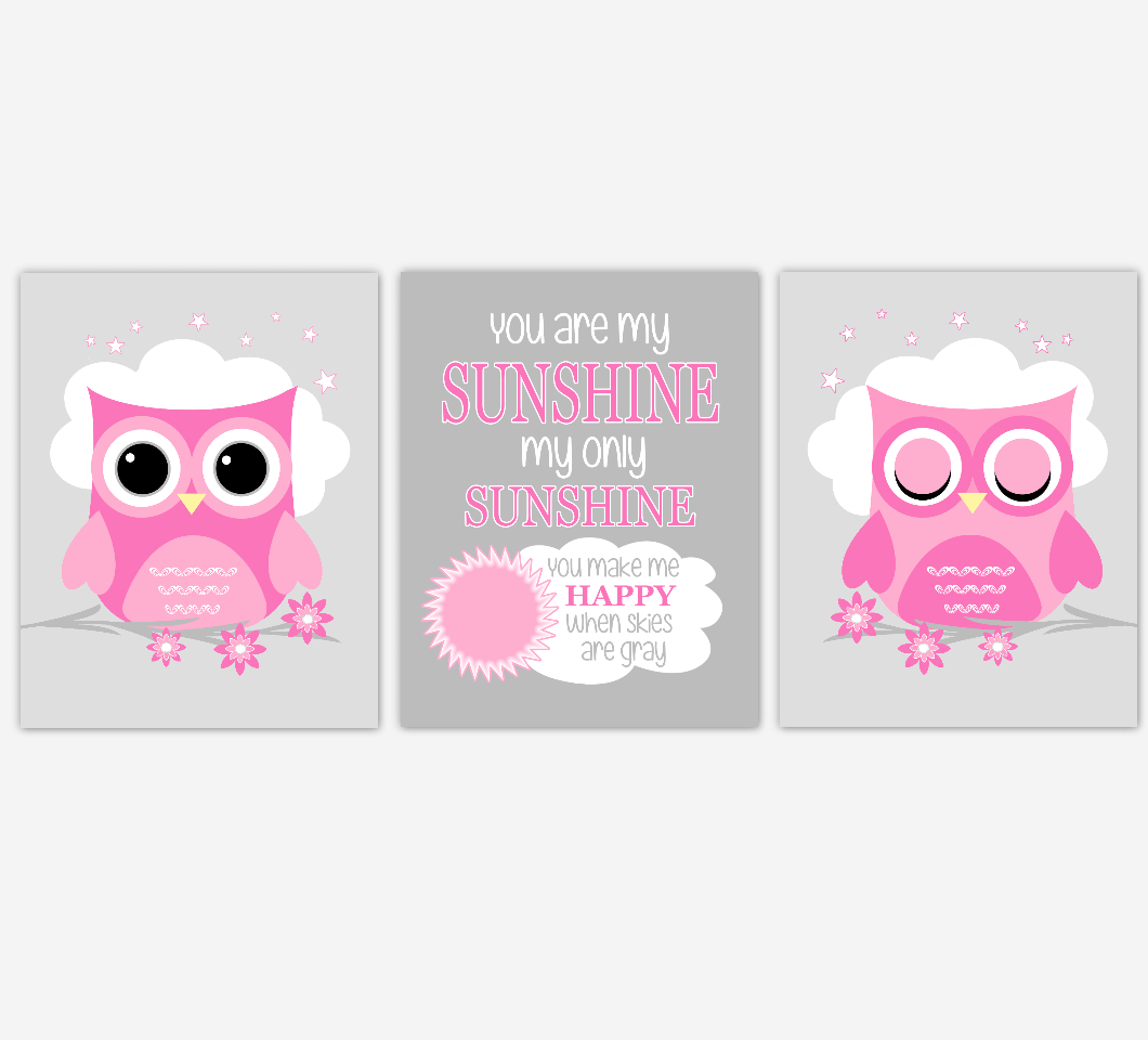 Baby Girl Nursery Art Pink Gray Owls You Are My Sunshine Baby Nursery DecorSET OF 3 UNFRAMED PRINTS