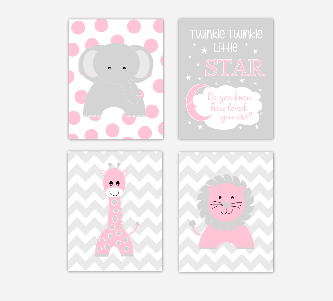 Baby Girl Nursery Wall Art Pink Elephant Giraffe Lion Twinkle Twinkle Little Star Jungle Safari Zoo Animals Baby Nursery Decor SET OF 4 UNFRAMED PRINTS