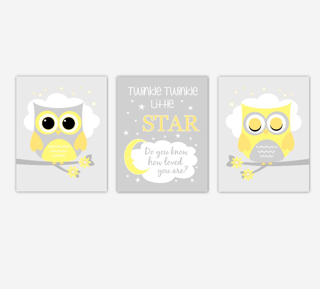 Baby Nursery Art Yellow Gray Owls Twinkle Twinkle Little Star Artwork Prints Baby Nursery Decor SET OF 3 UNFRAMED PRINTS