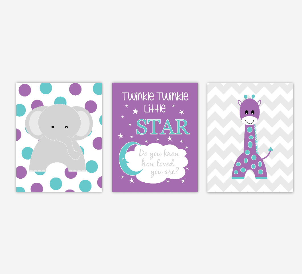 Baby Girl Nursery Art Purple Elephant Giraffe Twinkle Twinkle Little Star Jungle Safari Animals Artwork Prints Baby Nursery Decor SET OF 3 UNFRAMED PRINTS