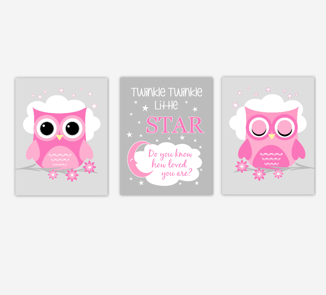 Baby Girl Nursery Art Pink Owls Twinkle Twinkle Little Star Jungle Safari Animals Artwork Prints Baby Nursery Decor SET OF 3 UNFRAMED PRINTS