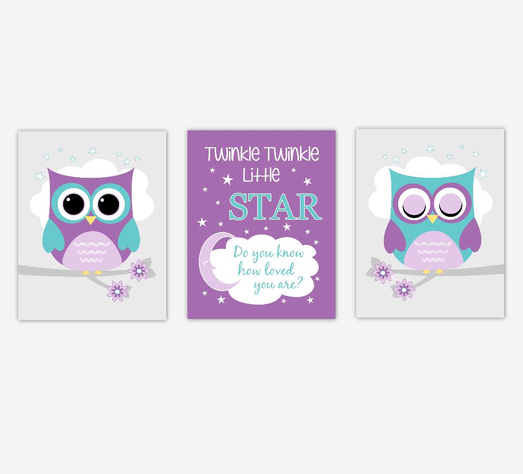 Baby Girl Nursery Art Purple Owls Twinkle Twinkle Little Star Jungle Safari Animals Artwork Prints Baby Nursery Decor SET OF 3 UNFRAMED PRINTS