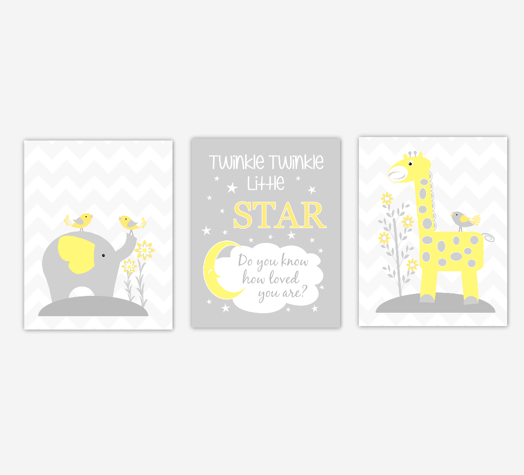 Baby Nursery Art Yellow Elephant Giraffe Twinkle Twinkle Little Star Jungle Safari Animals Artwork Prints Baby Nursery Decor SET OF 3 UNFRAMED PRINTS