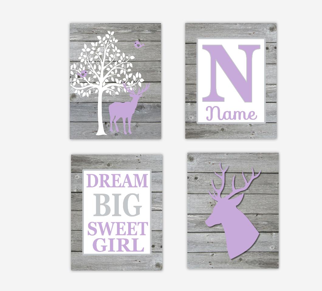 Baby Girl Nursery Art Purple Deer Rustic Farmhouse Personalized Baby Nursery Decor SET OF 4 UNFRAMED PRINTS