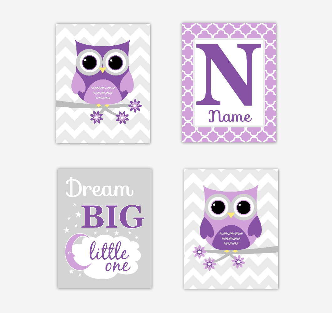 Baby Girl Nursery Art Purple Owls Dream Big Baby Nursery Decor Artwork Prints