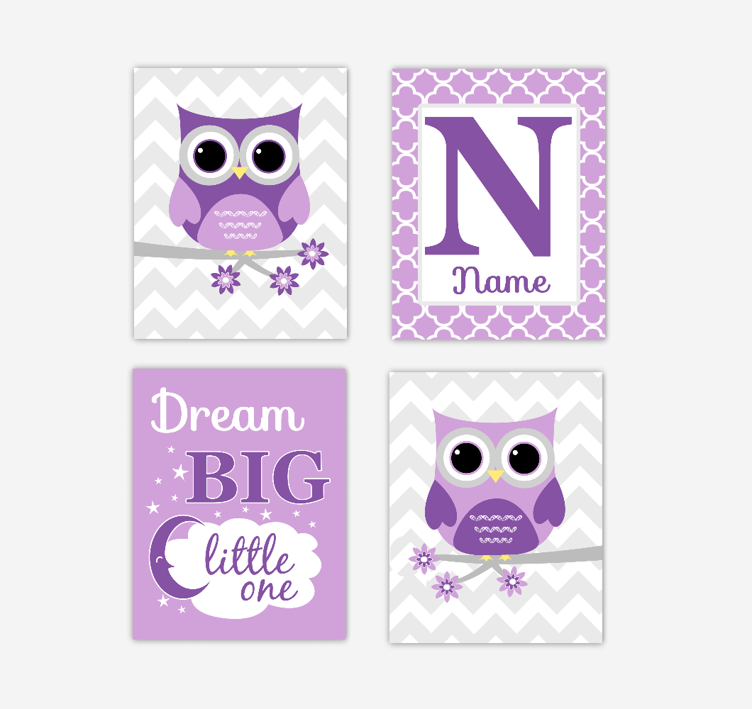 Baby Girl Nursery Wall Art Owls Purple Personalized Dream Big Baby Nursery Decor SET OF 4 UNFRAMED PRINTS