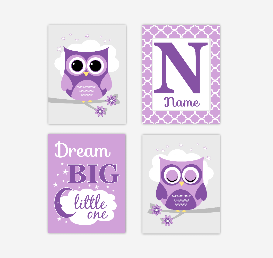 Baby Girl Nursery Wall Art Owls Purple Personalized Dream Big Baby Nursery Decor SET OF 4 UNFRAMED PRINTS