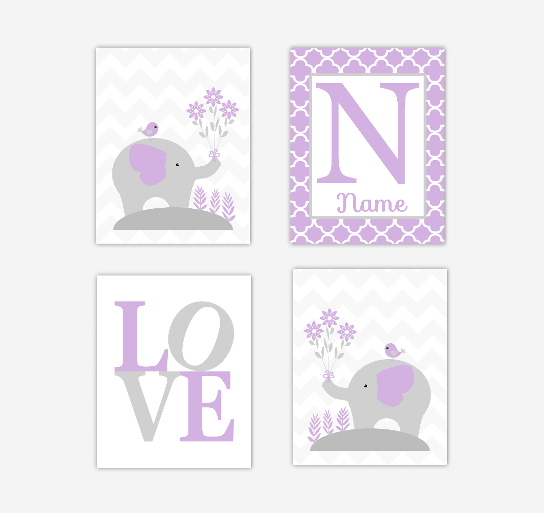 Baby Girl Nursery Wall Art Elephants Purple Personalized LOVE Jungle Safari Dream Big Baby Nursery Decor SET OF 4 UNFRAMED PRINTS