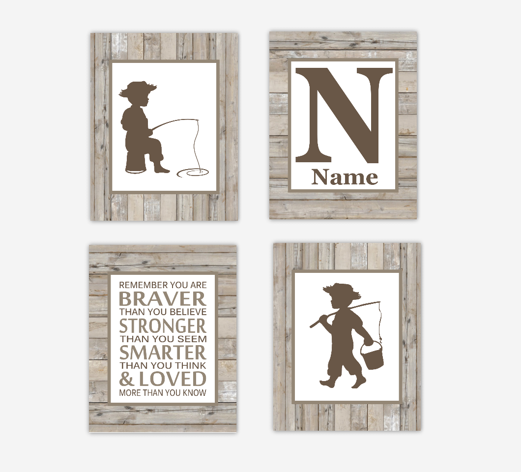 Fishing Baby Boy Nursery Wall Art Boy Bedroom Prints Brown Rustic Farmhouse Personalized Prints SET OF 4 UNFRAMED PRINTS