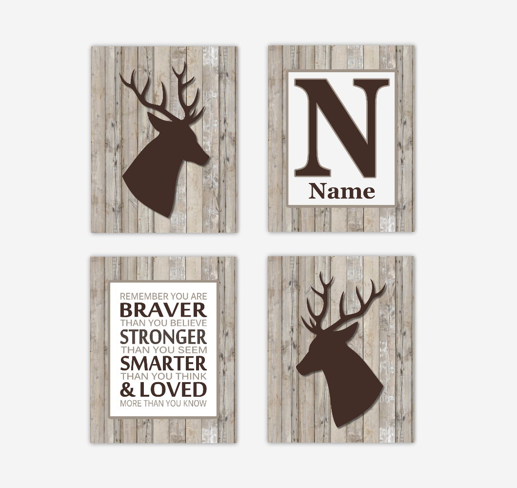 Deer Baby Boy Nursery Wall Art Antlers Brown Rustic Farmhouse Personalized Prints Remember You Are Braver SET OF 4 UNFRAMED PRINTS