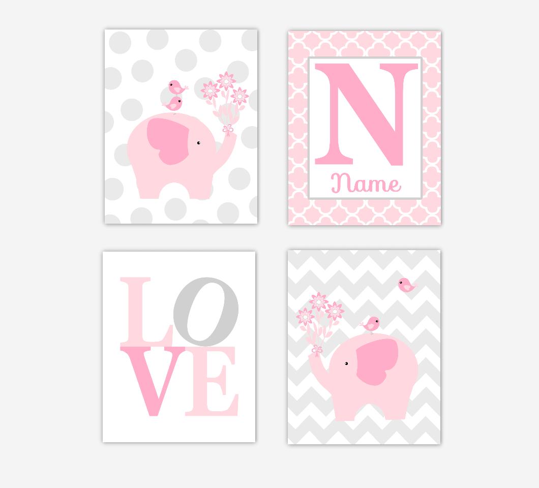 Baby Girl Nursery Art Pink Elephants Jungle Safari Baby Nursery Decor Prints Personalized SET OF 4 UNFRAMED PRINTS