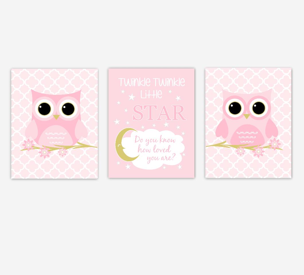 Baby Girl Nursery Art Owls Pink Gold Twinkle Little Star Baby Nursery Decor SET OF 3 UNFRAMED PRINTS
