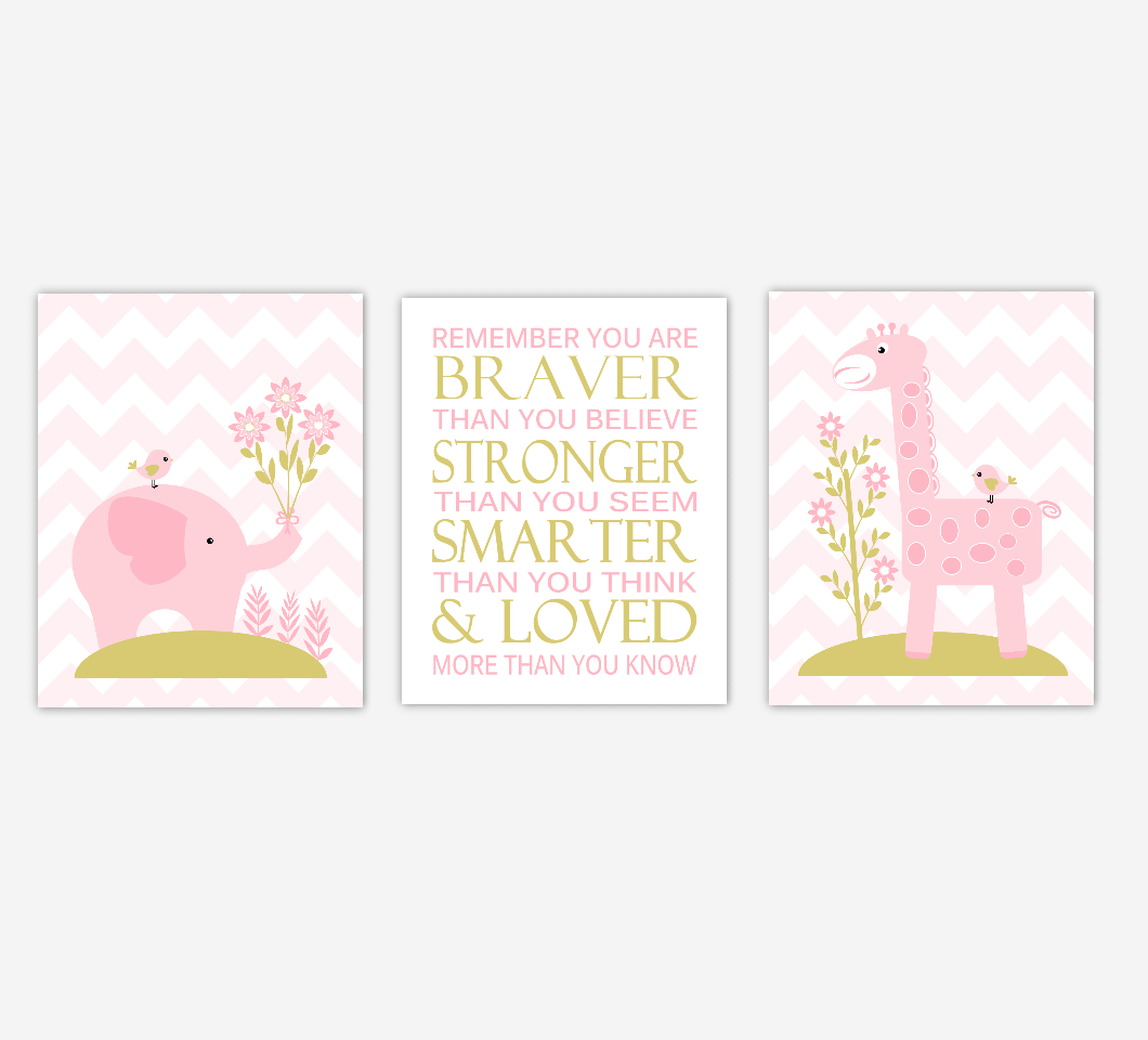 Baby Girl Nursery Art Elephant Giraffe Jungle Safari Remember You Are Braver Baby Nursery Decor SET OF 3 UNFRAMED PRINTS