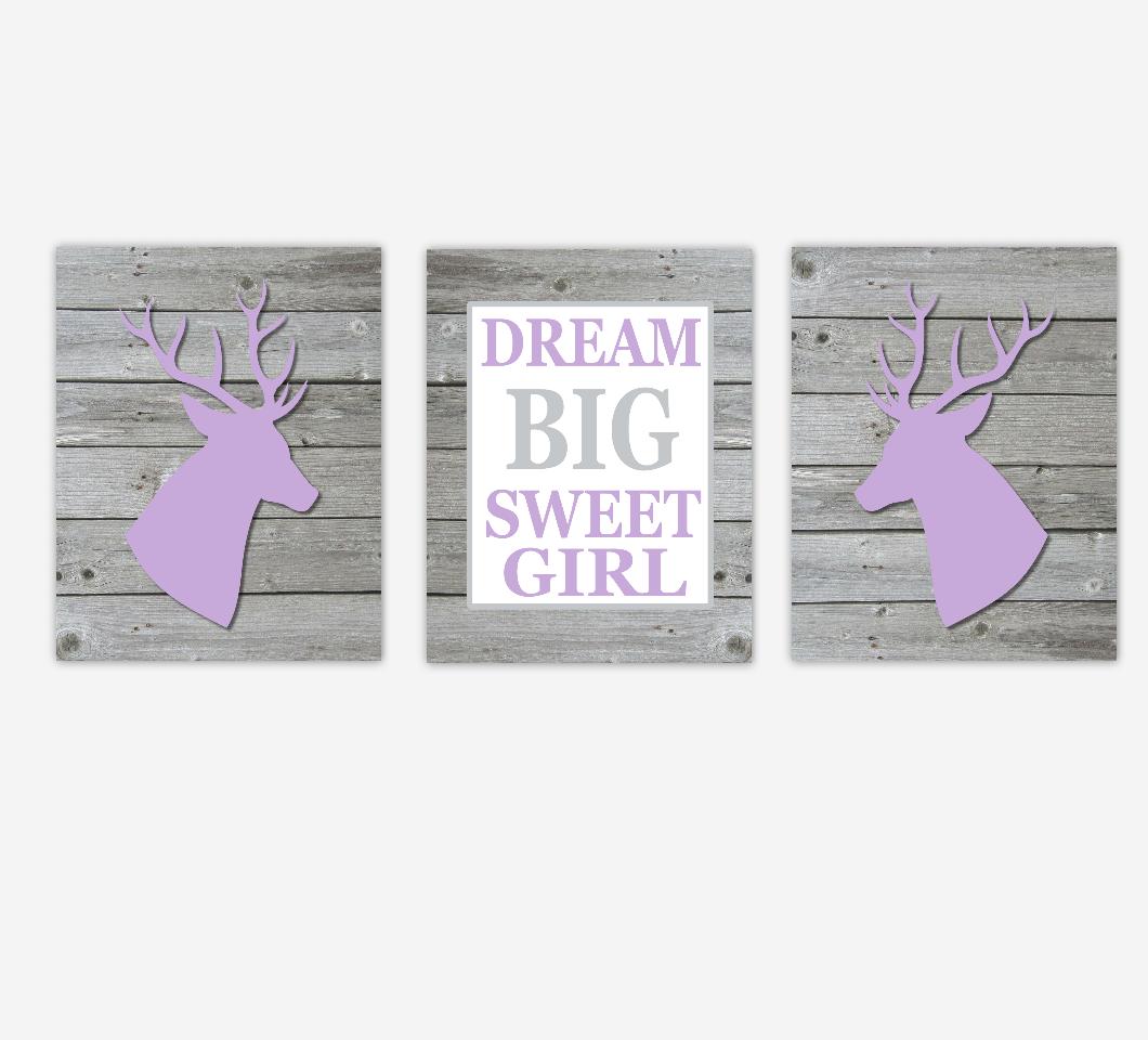 Baby Girl Nursery Art Deer Purple Rustic Farmhouse Antler Dream Big Baby Nursery Decor Children Artwork SET OF 3 UNFRAMED PRINTS